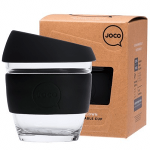 reusable glass cup black